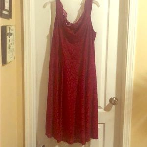 Red cocktail dress.